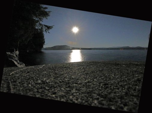 1 am beach and moon on lake
